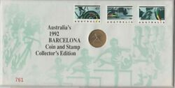 Coin Australia 1 Olympic Games Barcelona Coin And Stamp Edition Pnc Un Postmarked