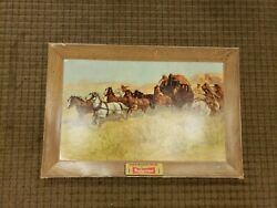 Original 1952 Budweiser Attack On The Overland Stage 1860 Print Beautiful Cond.