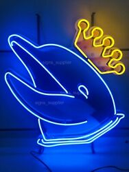 New King Dolphin Neon Sign Light Lamp 24x20 With Hd Vivid Printing Technology