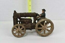 Vintage Fordson Cast Iron Toy Farm Tractor W/ Driver