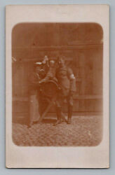 Antique Ww1 German Real Photo Rppc Postcard Soldier W/ Medic Armband Wife Child
