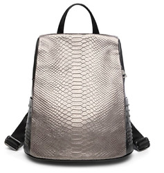 Authentic Genuine Leather Backpack Crocodile Pattern Women Satchel Bags $95.38