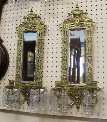 Outstanding Solid Brass Bronze French Etched Crystal Prisms Dolphin Sconces