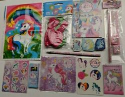 Unicorn Themed Party Bag Fillers Books Toys Jigsaw Erasers Pads Balloons Crayons GBP 2.75