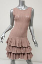 Alaia Tiered Dress Dusty Rose Stretch Knit Size 40 Sleeveless Scoop-Back