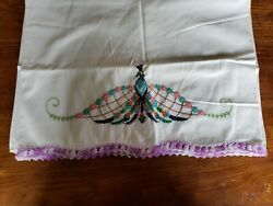 Vintage Embroidered And Crocheted Cotton Pillowcases, Purple Peacock With Flowers