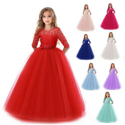 Flower Girl Princess Lace Bridesmaid Wedding Long Dress Gown Tutu for Girls Kids