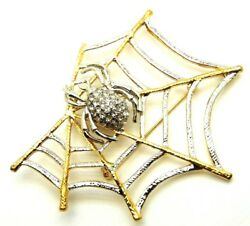 Vintage 2 Spider Pin Web Brooch Widow Bug Insect Rhinestone Crystal Halloween F1