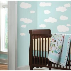 19 White CLOUDS Peel amp; Stick Wall Decals Baby Nursery Stickers Kids Room Decor