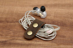 men women ladies earphone clip christmas gift holder clutch soft Brown leather S