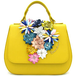 Braccialini Made in Italy luxury designer yellow leather Satchel bag with flower