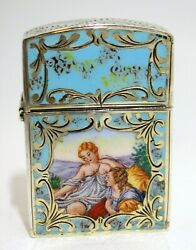 Courting Scene Lighter Case Hand Painted Enamel Etched 800 Silver Zippo Insert