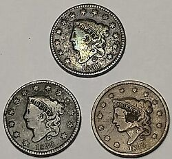 1831, 1833 And 1835 Us Liberty Matron Head Large Cents - 3 Coins