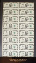 Sixteen 1976 Two Dollar Star Cleveland Notes Uncut Currency Dept Of Treasury