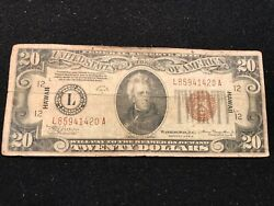 1934a 20 Brown Hawaii Emergency Federal Note Hard To Find In Good Condition