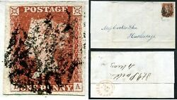 1841 1d Red La Plate 11 Four Margin Example On Entire Fine Used V83707
