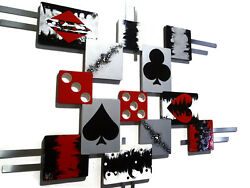 Cards Dice Theme Wall Sculpture Abstract Wood And Metal Wall Art Poker 42x29