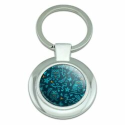 Mystical Owl Flower Pattern with Bugs Classy Round Plated Metal Keychain