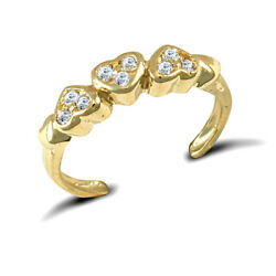 9ct Gold Hall Marked Cubic Zirconia Trilogy Pave Love Hearts Toe Ring Gift Boxed