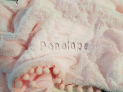 Personalized Baby Blanket With Pom Poms Luxury Fluffy High Pile Fur 100x75cm