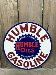 Humble Texas Gasoline Oil Oils Vintage Round Metal Sign Reproduction