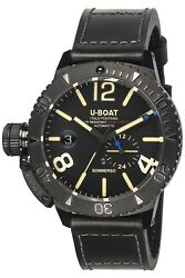 Watch Man U-boat Sommerso 9015 Leather Black