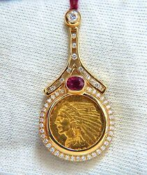 1909 American Blp Coin Pendant Ruby And Diamonds 1.90ct