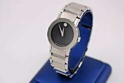 Movado Bold Black Dial And Stainless Steel Ladies Watch