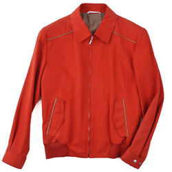 Nwt 3350 Brioni Red Cotton And039storm Systemand039 Jacket With Leather Details S