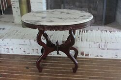 Vintage Carved Rose Mahogany Marble Top Sofa/console/hall Table 1894b