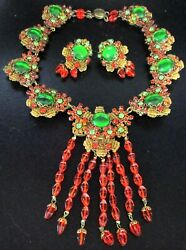 STANLEY HAGLER Stunning Orange & Green Crystal Rhinestone Necklace Earring Set!