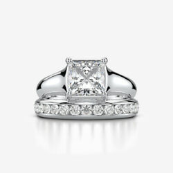 WOMEN VVS1 D 1.79 CARATS DIAMOND RING BAND 14 KT WHITE GOLD PROMISE SIZE 4.5 - 9