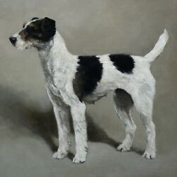 Fine original British antique oil painting on canvas Fox Terrier dog 1904