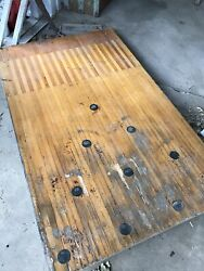2 Bowling Alley Lane Sections With Pin Dots Inlaid Reclaimed Wood Project Table