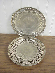 Pair Old And Co Sterling Silver Pierced Rim Footed Cake Stands 17266 8.75