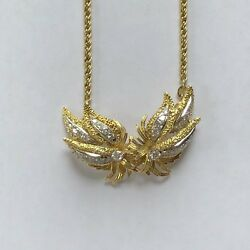 18k Yellow Gold Diamond Flower Pendant On A Rope Chain 38.3 Gm
