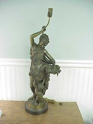 Old A Carrier French Cast Bronze Figure Woman With Flower Basket And Child 27