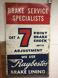 Large Vintage 5' X 3' Brake Service Specialists - Raybestos Lining Metal Sign