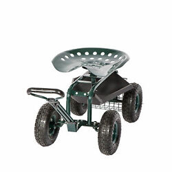 Garden Cart Rolling Work Seat With Tool Tray Heavy Duty Garden Planting