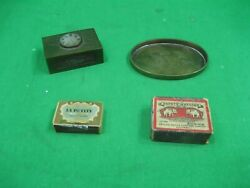 Vintage Lot Of Four 4 Brass Trinkets Match Boxes And Holders Intricate Design