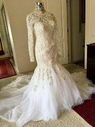 Lillian Lottie Gorgeous Never Worn Long Sleeve Weddind Dress With Hand-done Bead