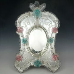 Large Venetian Art Glass Beveled Mirror Vanity Table Wall, Pink And Blue Flowers