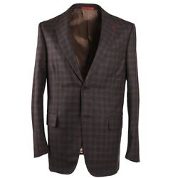 Nwt 3295 Isaia Modern-fit Brown And Gray Check Soft Wool Sport Coat 44 R