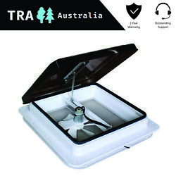 12v Caravan Rv Roof Vent Manual Shower Hatch With Fan 355mm X 355mm Smoked Lid