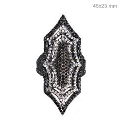 Diamond Pave Spider Web Handmade Ring Sterling Silver Vintage Look Jewelry PY