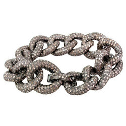 43.9ct Diamond Pave Link Chain Bracelet 7.5