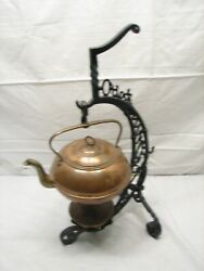 Antique 5 O'clock Country Store Advertising Copper Tea Kettle Rack Warmer