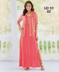 Women's Knit Maxi Jacket Dress with Necklace - Coral Size Large