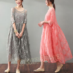 Women Real Silk Lace Embroidery Loose Long Dress Suit Summer Oversize Maxi Skirt