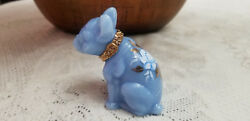 Glass French Bulldog Delphite Blue Hand Painted Collar amp; Roses Signed Figurine